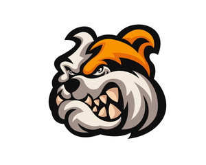 Angry Confidence Dog Character Logo - Bulldog