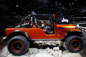 The Jeep CJ66 concept vehicle displayed during the North American International Auto Show in Detroit