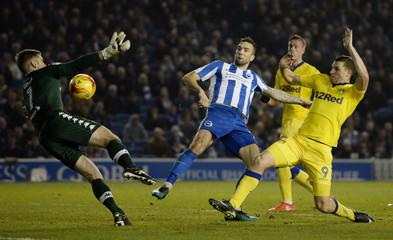 Brighton's Shane Duffy scores a disallowed goal