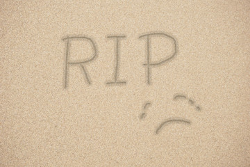 RIP, rest in peace, hoanwriting on nature sand
