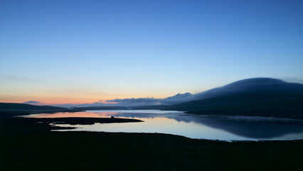 Midnight sun (or simmer dim) over the Loch of Spiggie, Shetlands