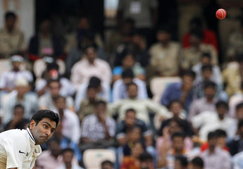 India's Ashwin bowls during the fourth day of their first test cricket match against New Zealand in Hyderabad