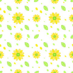 Sunflower seamless pattern vector background