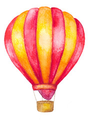 watercolor hot air balloon isolated on white