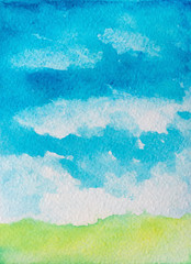 abstract watercolor background with clouds and grass.