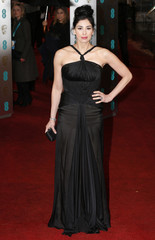 Silverman poses as she arrives for the British Academy of Film and Arts awards ceremony at the Royal Opera House in London