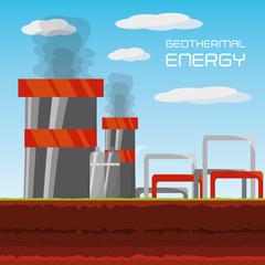 flat concept geothermal generator energy, vector illustration