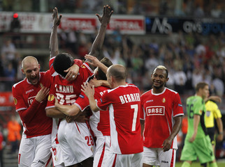 Kanu of Standard Liege celebrates his goal during his Europa League soccer match against FC Copenhagen in Liege