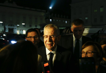 Austrian presidential candidate Van der Bellen , who is supported by the Greens, and his wife Schmidauer arrive for a TV show in Vienna