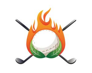 Modern Golf Logo - On Fire Green Golf Emblem