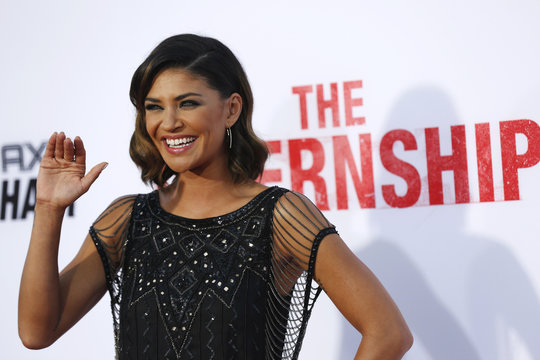 """Cast member Szohr waves at the premiere of """"The Internship"""" in Los Angeles"""