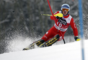Razzoli of Italy clears a gate during the second run of the men's slalom race at the Alpine Skiing World Cup Finals in Meribel