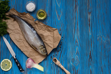 Ingredients for cooking fish: salt, oil, spices and herbs