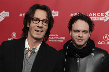 Musician Rick Springfield and his son Liam arrive for the premiere of the documentary Sound City at the Sundance Film Festival in Park City, Utah