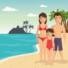 Family in swimsuit over beach landscape and island silhouette. Vector illustration.