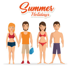 Couples in swimsuit with summer holidays sign over white background. Vector illustration.