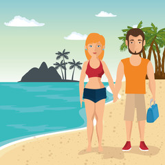 Couple in swimsuit over beach landscape background. Vector illustration.