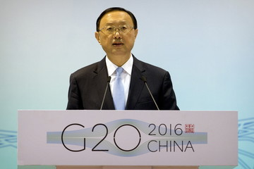 Chinese State Councilor Yang Jiechi speaks at the 2016 First G-20 Sherpa Meeting in Beijing
