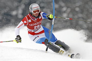 Marianne Kaufmann-Abderhalden of Switzerland skis during the women's World Cup super combined slalom race in Meribel, in the French Alps