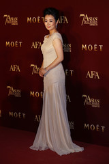 Chinese actress Zhao Tao poses on the red carpet upon her arrival at the Asian Film Awards in Hong Kong