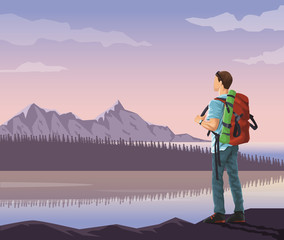 realistic landscape background of snowy mountains and lake with mountaing climber looking to horizont vector illustration