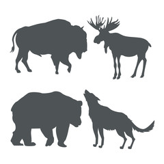 monochrome set silhouette wildlife animals of snowy mountains vector illustration