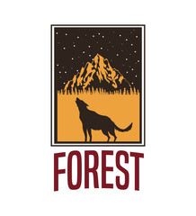 white background with rectangle frame logo forest with wolf silhouette vector illustration