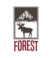 beige color background with rectangle frame logo forest with moose silhouette vector illustration