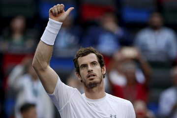 Murray of Britain celebrates after winning his men's singles tennis match against Isner of the U.S. at the Shanghai Masters tennis tournament in Shanghai