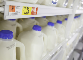 Gallons of milk in the dairy products section can be seen on Display at a new Wal-Mart store in Chicago