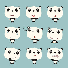 Set funny panda bear in different poses. Collection isolated panda bear in cartoon style for design children holiday and goods.