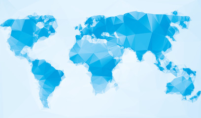Triangle world map vector illustration. Stylize world map, technology blue concept