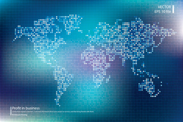 Dotted world map vector illustration. Business concept about world map global elements. Blue technology colors