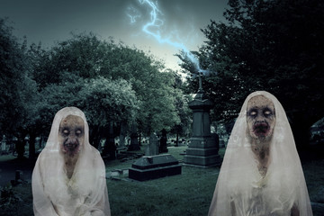 Zombie Graveyard Ghosts With Lightening
