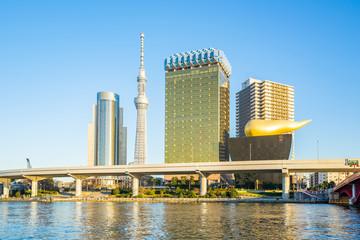 Sumida River with landmark buildings in Tokyo Japan