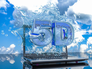 Splash water from the laptop screen with symbols 5d, 3d render