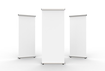 Blank roll up banner 3 display view template. 3d illustrating. Wall mural