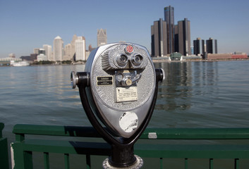 A viewing machine used by the public to look at activity on the Detroit River and the Detroit, Michigan skyline is seen on the river walk in Windsor, Ontario