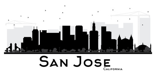 San Jose California City skyline black and white silhouette.