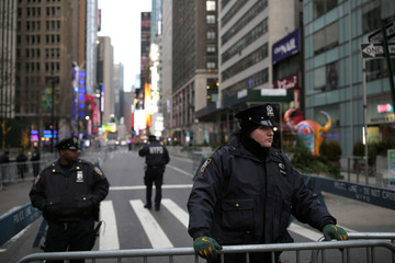 NYPD officers near Times Square in preparation for the New Year's celebration in Manhattan, New York City