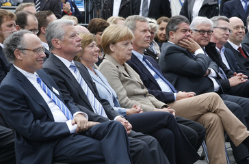 Graumann President of Central Council of Jews in Germany German Chancellor Merkel and German President Gauck attend anti-Semitism demo in Berlin