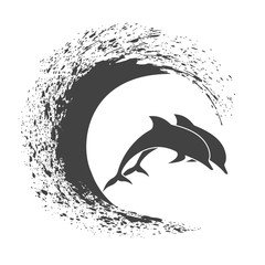 Pack of dolphins springing in waves, a monochrome icon in style grunge.
