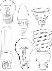six electric lamp sketches isolated on white