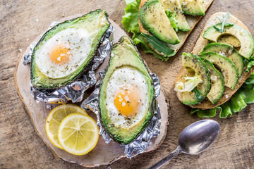 Avocado sandwich and Chicken egg baked in avocado.