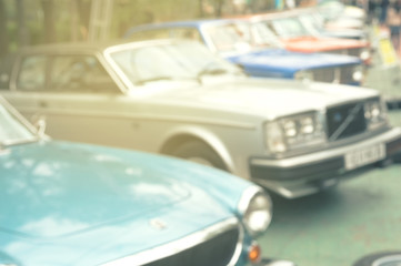 Defocused photo of retro car show