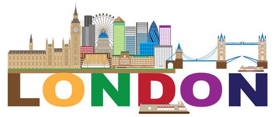 London Skyline Color Text vector Illustration