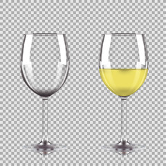 Glass of white wine and empty glass. Vector illustration isolated on transparent background.