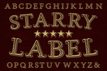 Starry label font. Isolated english alphabet.