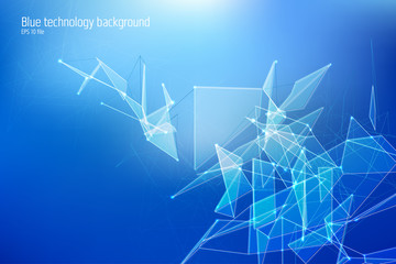 Technology triangle, line and dot vector concept. Abstract futuristic triangular background