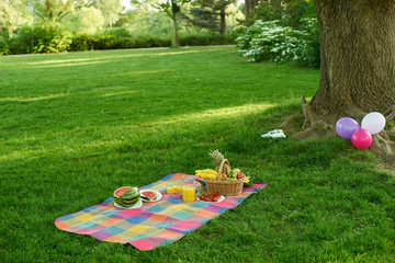 Picnic wth fruits under a tree